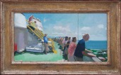 Cape May Lewes Ferry by Alex Cohen, Oil on board 8 x14