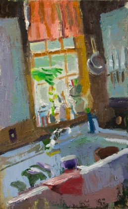 Sunlit Sink by Alex Cohen, Oil on board 9 x 5.5