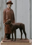 Man and Dog by James Stewart, Painted Terracotta 22 x 14 x 10 - SOLD