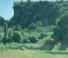 Landscape with Cliff by Ronit Goldschmidt, Oil on canvas on board 11 x 9