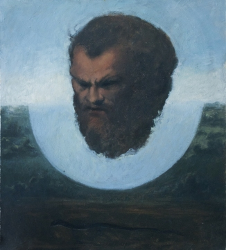 Floating Head by Ronit Goldschmidt, Oil on canvas on board 16 x 18