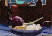 Cabbage, Marshmallow, Garlic, Banana by Alex Cohen, Oil on board 7 x 10