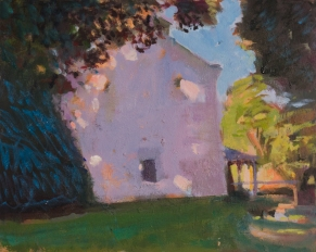 Farm House, June by Alex Cohen, Oil on board 10 x 12.5