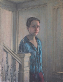 Girl by Banister by Yedidya Hershberg, Oil on canvas on board 20 x 15