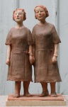Two Sisters by James Stewart, Painted Terracotta 18 x 11 x 7 - SOLD