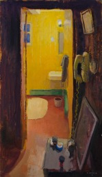 Bathroom by Alex Cohen, Oil on board 17.5 x 10 - SOLD