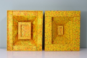 Martina Johnson-Allen, Yellow/Orange, (set of 2) Mixed media box constructions, museum board, acrylic paint, arches paper, buckram, 9 x 8 x 3 inches, 2003