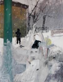 "Aubrey Levinthal Dog Park Pile Up Oil on panel 32"" x 24.75"" 2017"