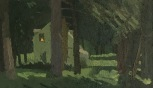 "Brian Rego House in the Woods Oil on board 9 3/8"" x 16 1/8"" 2018"