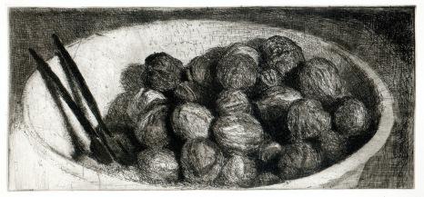"""François Dupuis Le bol de noix Etching Print: 9.8"""" x 4.5"""" Paper: 14.2"""" x 9.8"""""""