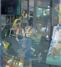 """Susan Lichtman, Moments with Pets Caught, Oil on Linen, 66"""" x 60"""", 2010"""