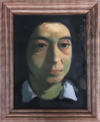 "Ron Prigat Portrait of Kelly Medford Oil on panel 10"" x 8"" 2018"