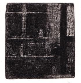 """François Dupuis Petit intérieur Etching Print: 3.2"""" x 2.7"""" Paper: 12.5"""" x 9.8"""""""