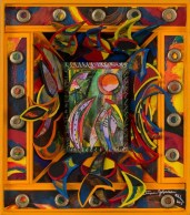 """Martina Johnson-Allen Sacred Space VIII Mixed media painting 9"""" x 8"""" 2012, Photo courtesy of Petrucci Family Foundation Collection"""