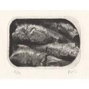 """François Dupuis Sardines Etching Print: 4.2"""" x 3"""" Paper: 12.6"""" x 9.8"""""""