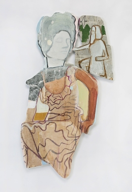 "Miriam Hitchcock The Ancients Paint and collage on paper and wood, copper wire 39"" x 23"" 2018"