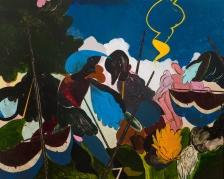 "Kenichi Hoshine The Fools Following Acrylic on wood 48"" x 60"" 2018"