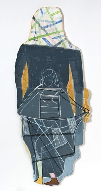 "Miriam Hitchcock Two Figures Paint and collage on paper and wood, copper wire 48"" x 20"" 2018"