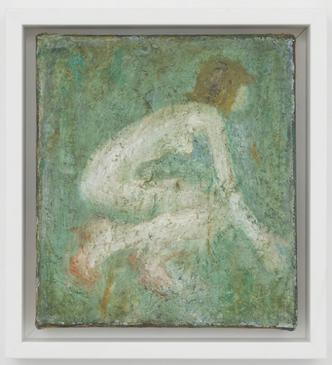 "John Lees Woman Crouching Oil on canvas 9 1/4"" × 8 1/4"" 2018"