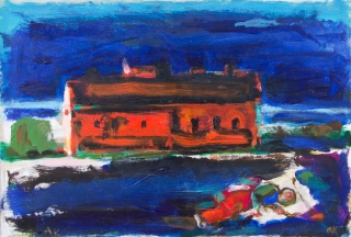 "Albert Kresch, Sleeping Man and House, Oil and acrylic on paper on panel, 11.5"" x 16.5"", 2007"