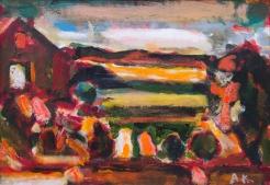 "Albert Kresch, Pennsylvania Farm, Oil and acrylic on paper, 8"" x 11.5"""
