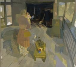 """Susan Lichtman, Visitors, 59"""" x 66"""", oil on linen, 2006."""