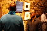 Artist Ron Prigat with a guest in the Chapel Gallery at Kings Oaks. Photo by Onyx Clemons