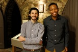 Kings Oaks interns Frankie Brunell and Onyx Clemons in the chapel gallery on opening night.