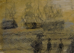 David Fertig, Ashore, Pastel on etching, 6_ x 7 7_8_ paper size