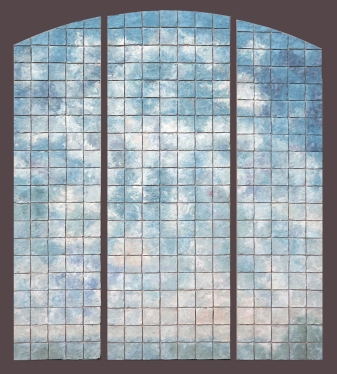 "Elizabeth MacDonald, Clouds, Ceramic tile mounted on board, 71"" x 60"" Triptych, c. 2000"