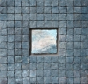 "Elizabeth MacDonald, Cloudy Day, Ceramic tile mounted on board, 11 1:4"" x 11 1:4"", 2018"