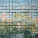 "Elizabeth MacDonald, Springtime, Ceramic tile mounted on board, 17 1:4"" x 17 1:2"", 2019"