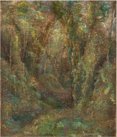 "Eric Holzman, Wooded Area at Sleepy Hollow, Oil on linen, 14"" x 12"", 2015-2019"