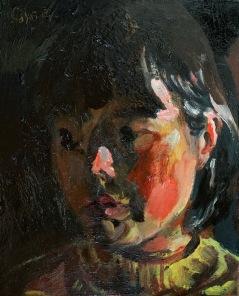 "Kouta Sasai, Portrait, Oil on board, 7.9"" x 6.3"", 2019"