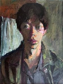 """Kouta Sasai, Self Portrait, Oil pastel on Arches paper, 13.4"""" x 10.2"""""""