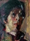 """Kouta Sasai, Self Portrait, Oil pastel on Arches paper, 11.8"""" x 8.8"""""""