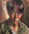 """Kouta Sasai, Self Portrait, Oil pastel on Arches paper, 10.2"""" x 8.6"""", 2019"""