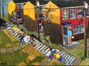 "Melvin Nesbitt Jr., Hillside and Summer, Painted paper collage, 16"" x 20"", 2019"