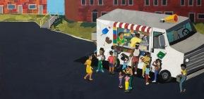 "Melvin Nesbitt Jr., Ice Cream Truck, Painted paper collage, 24"" x 48"", 2018"