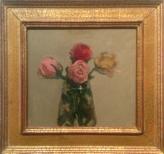 Robert K. Kulicke, Roses, Oil on plexiglass, 8_ x 9_, 1969, 22 Karat gold Florentine frame by Pam Sheehan