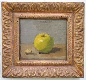 Robert M. Kulicke, Green Apple, Oil on canvas mounted on masonite, 4 1_2_ x 5_, 1995, 22 Karat gold Siennese frame by Robert M. Kulicke