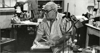 Robert M. Kulick in his studio, 1989, photo by Roy Davis
