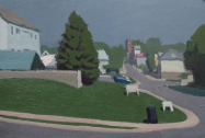 "Alex Cohen, View from Wendy's, 9"" x 14"", Oil on board, 2019"