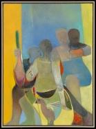 "Deborah Kahn, Three Figures and One Child, Oil on canvas, 44"" x 32"", 2014"