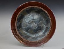 "David MacDonald, Quilt Series #2, Stoneware Plate, 19"" dia, 2019"