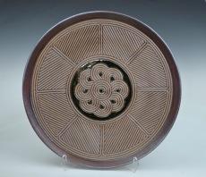 "David MacDonald, Quilt Series #7, Stoneware Plate, 18.75"" dia, 2019"