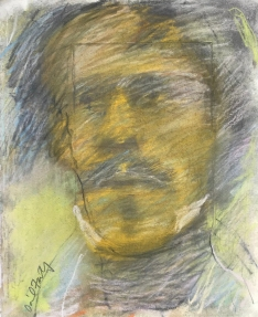 "David Fertig, Eugène Delacroix after Willem Dafoe, Pastel over printed etching on paper, mounted on museum board, 10 1:4"" x 8 1:4"", 2019"