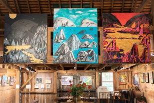 Benjamin King's paintings above the loft at Kings Oaks.