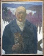 """E.M. Saniga, Self-Portrait with Screech Owl, Oil on board, 18"""" x 23 1:2"""", 2015-2019"""
