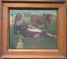 "E.M. Saniga Woman, Bull, and a Pointer Dog, Oil on board, 12"" x 15"", 2008"